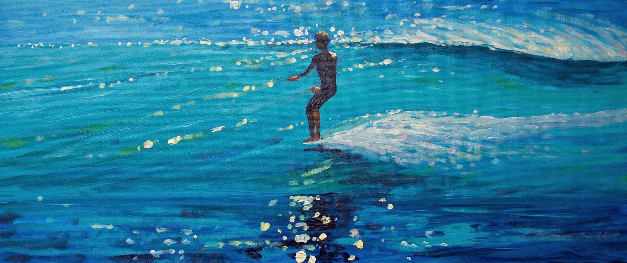 Surfing art by Woolacombe artist Steve PP